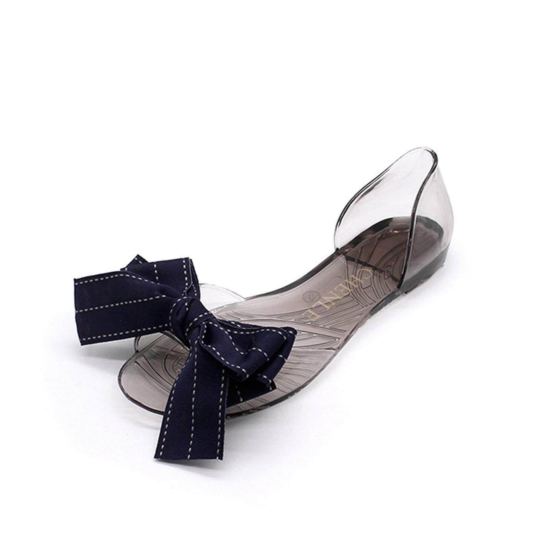 d1dc6b6b7 Get Quotations · Btrada Womens PVC Jelly Sandals Sweet Bowknot Flats Peep  Toe Slides Crystal Shoes Transparent Beach Flip