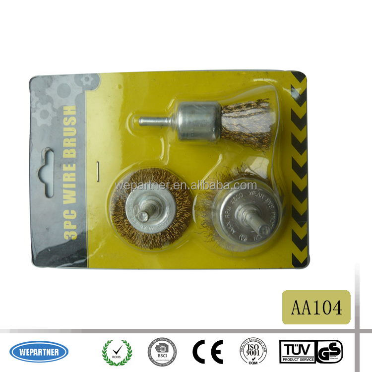 AA104 3pcs Shaft-cup brass wire brush