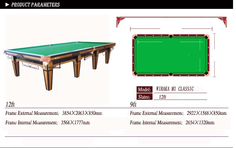 Wiraka classic table snooker table buy snooker table for 12ft snooker table for sale