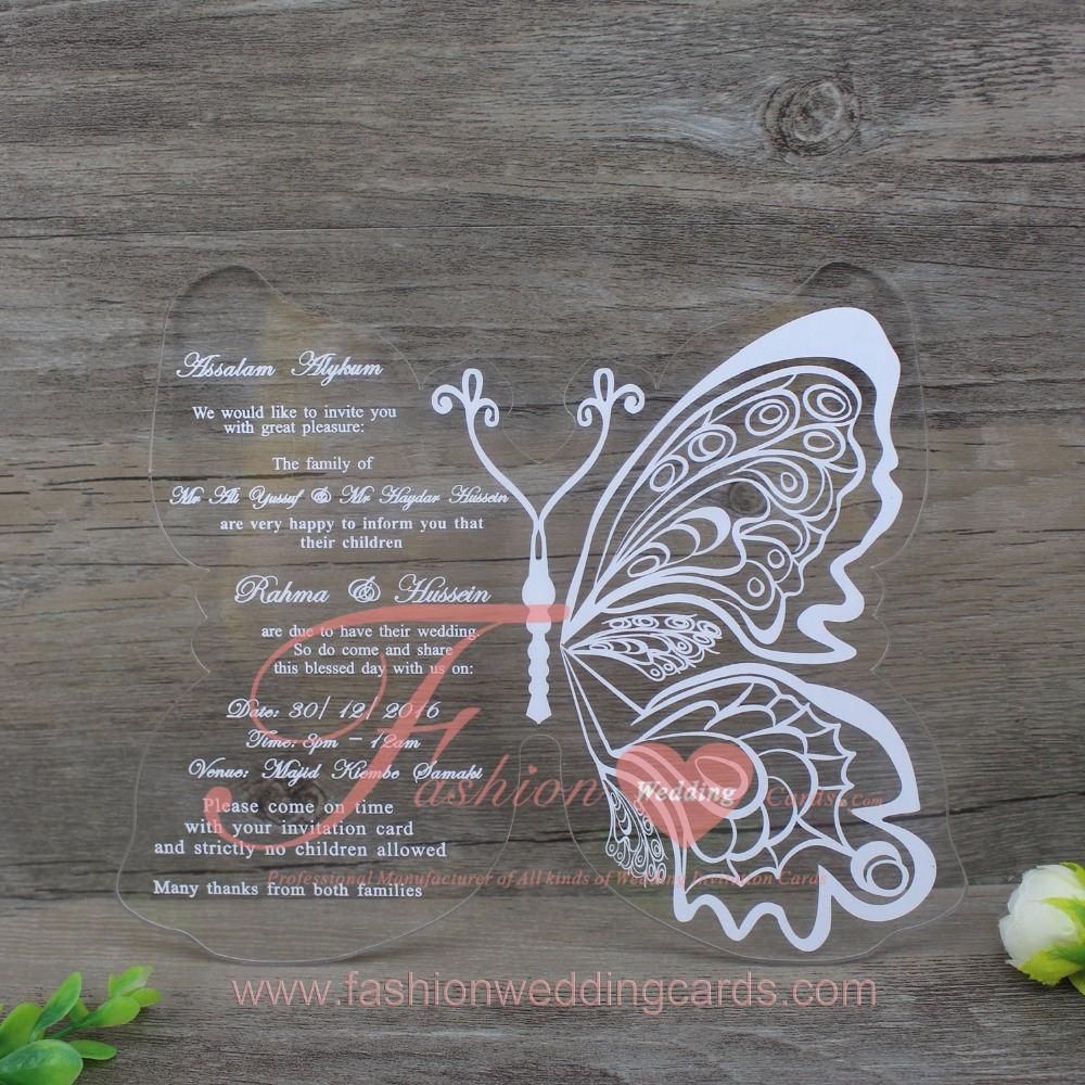 Beautiful Printing Acrylic Butterfly Shape Wedding Invitation Card ...
