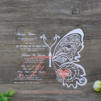 Beautiful Printing Acrylic Butterfly Shape Wedding Invitation Card