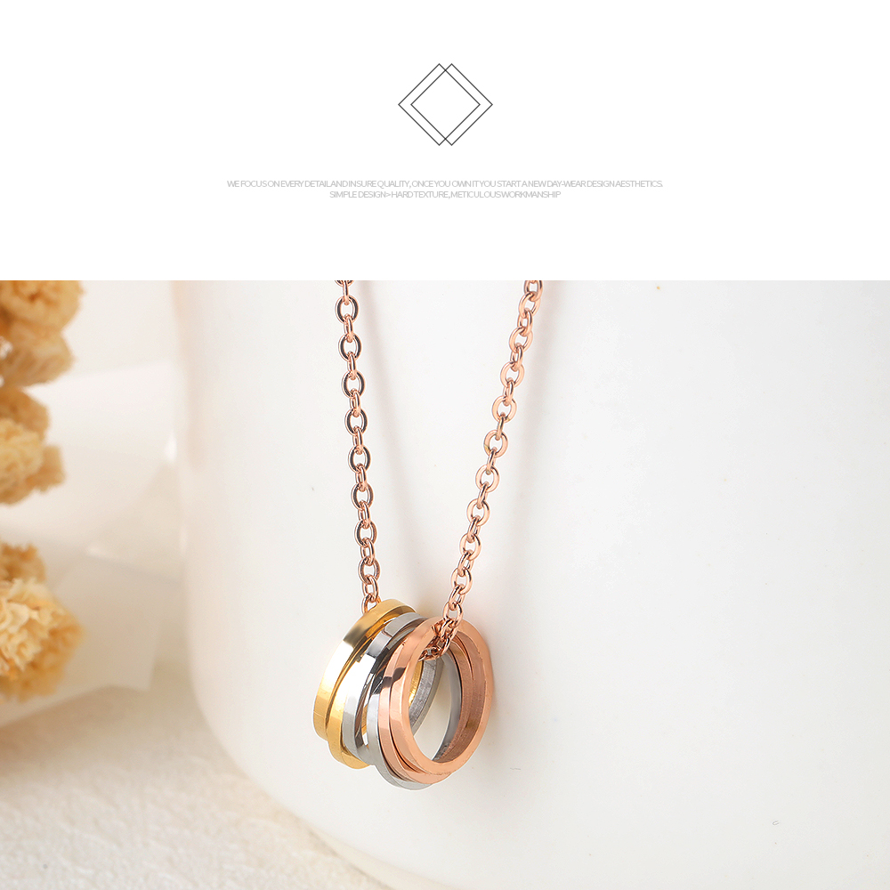 Top Selling Products Stainless Steel Women Ring Necklace Rotating Pendant