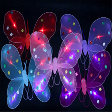 Moda toy kids party light up LED piscando incandescência headband set borboleta da asa do anjo varinha