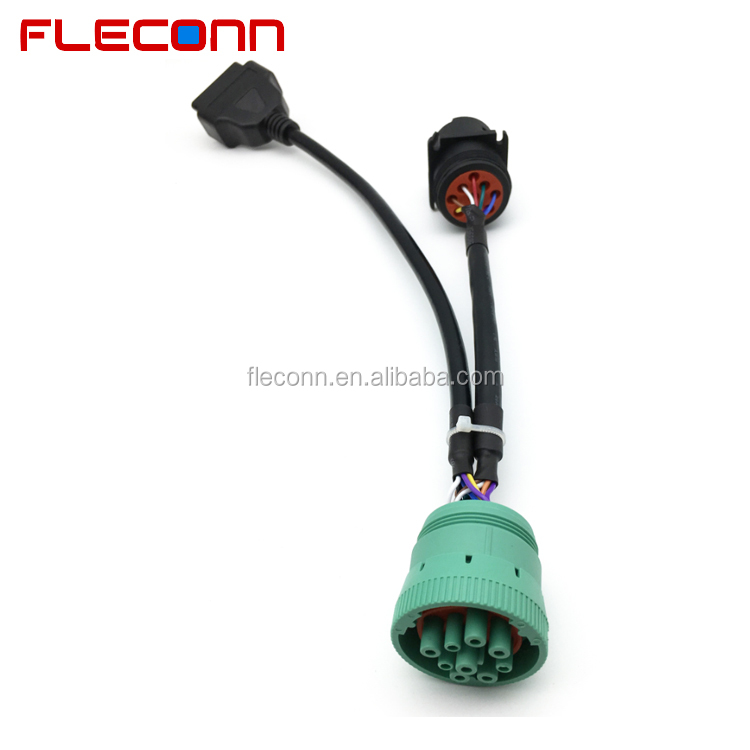 OBD2 to Green J1939 9 Pin Deutsch Connector Cable