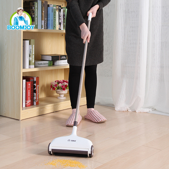 Boomjoy Hand Push Spin Broom Sweeper With Microfiber