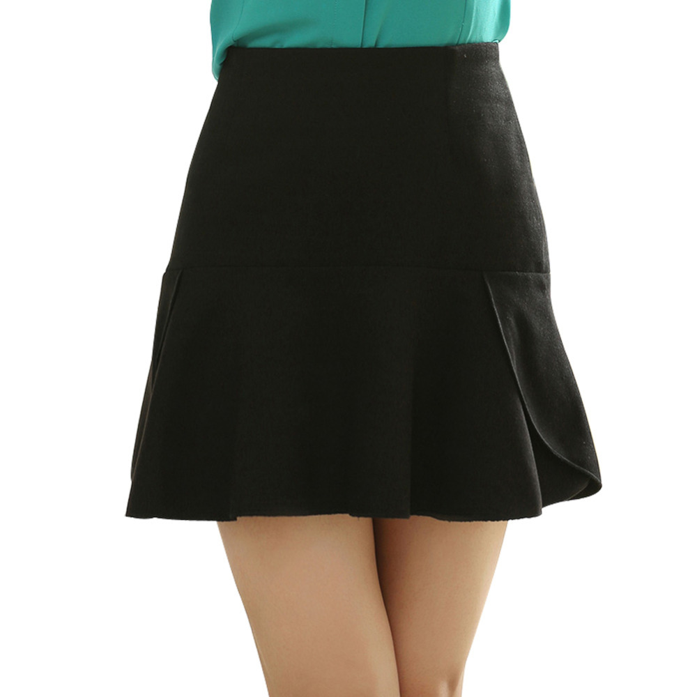 cd476102e6b Buy Korea Woman Pleated Mini Skirts Plus Size S-3XL Solid Color High Waist  Ruffles Fluffy Casual Design Lady Short Fishtail Skirt in Cheap Price on ...