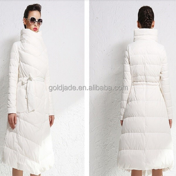 Wholesale 2015 Women White Slim Down Coat With Hat,Goose Down Long ...