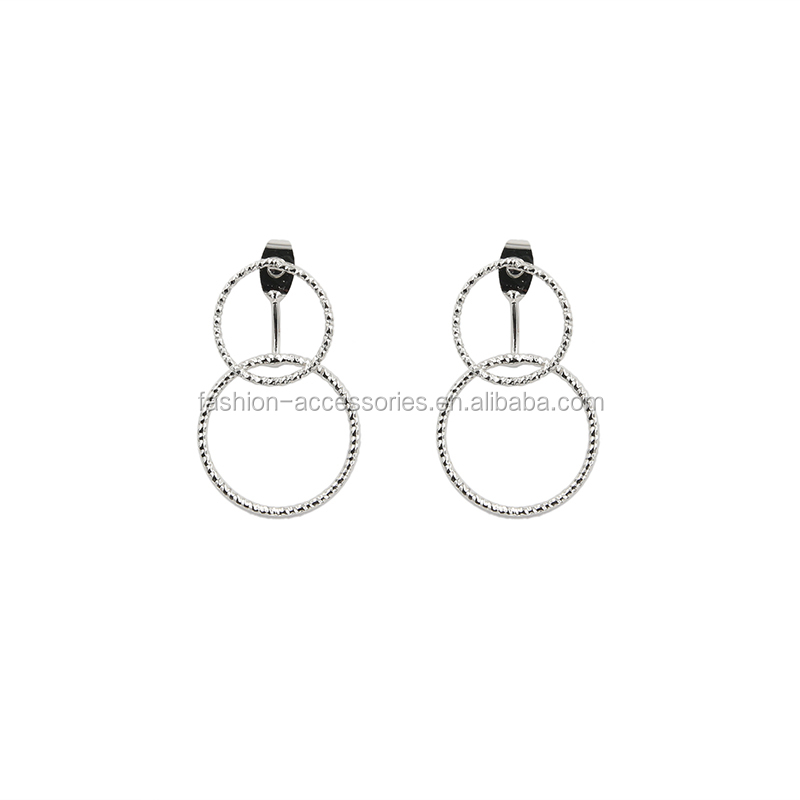 Fashion Women Ladies Designs Picture Trendy Circle Round Geometric Double Sided Drop Earrings One Earring for 2 Way Wear