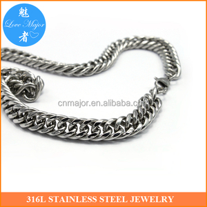 Young Stainless Steel Curb Chain Necklace Double Link Shine Polished Fashion Jewelry