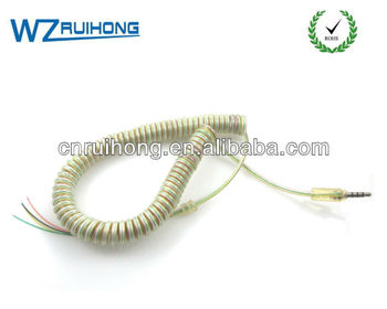 Transparent color jacket telephone handset spring coiled cord