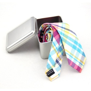 Check Cotton Tie Silver Metal Box Mens Gifts Sets