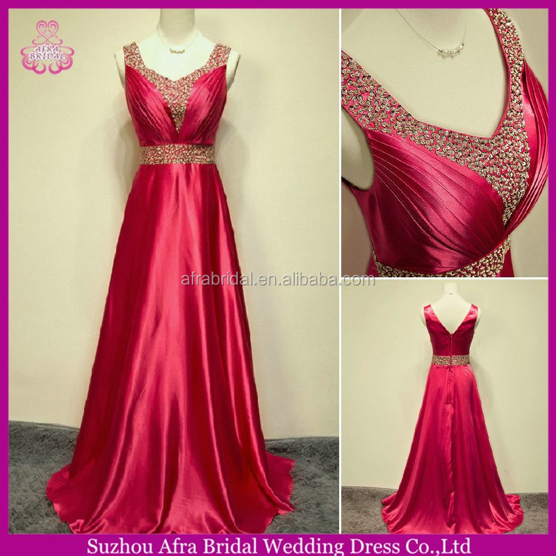 SW595 V cut back A line satin beaded waistline cheap long dress prom 2014