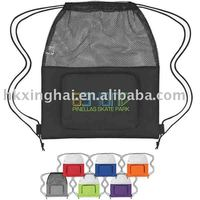 Mesh sports pack with front pocket,drawstring closure