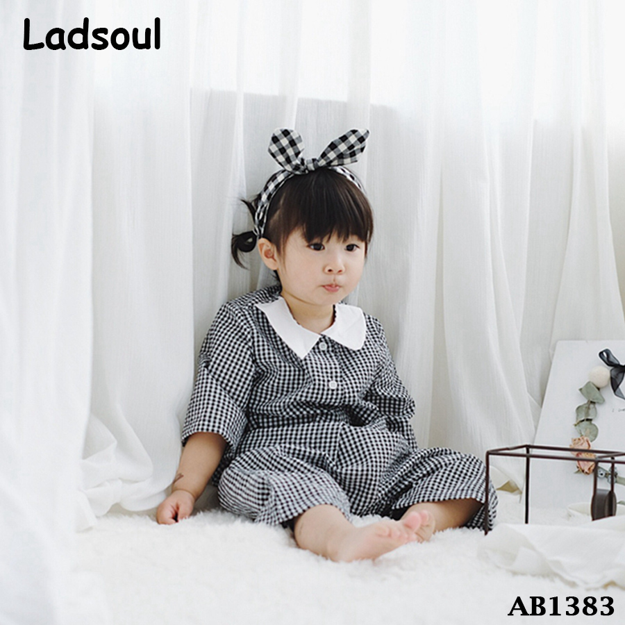 Lovely Baby Cotton Plaid Shirt And Pants 2 piece Pajamas Night Suits
