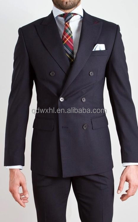 Suit Fabric Wool 100% Business Double Breasted Suit Custom Made ...