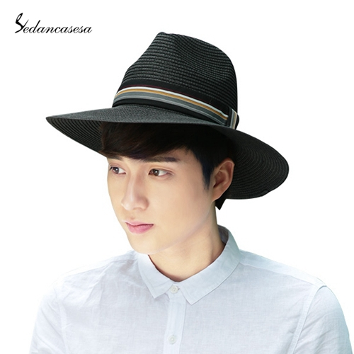 c3071172326 Get Quotations · Fashion Men Panama Hats Summer Contrast Color Straw Hat  Ribbon Rolled Trim Floppy Hat Beach Cap