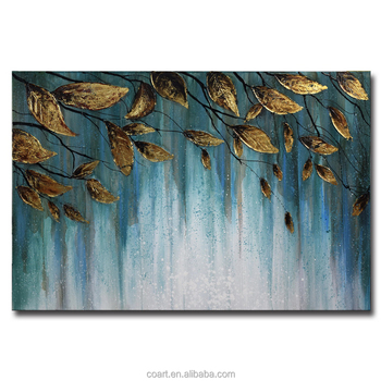 Simple Art Hotel Decoration Golden Abstract Tree Leaf Paintings