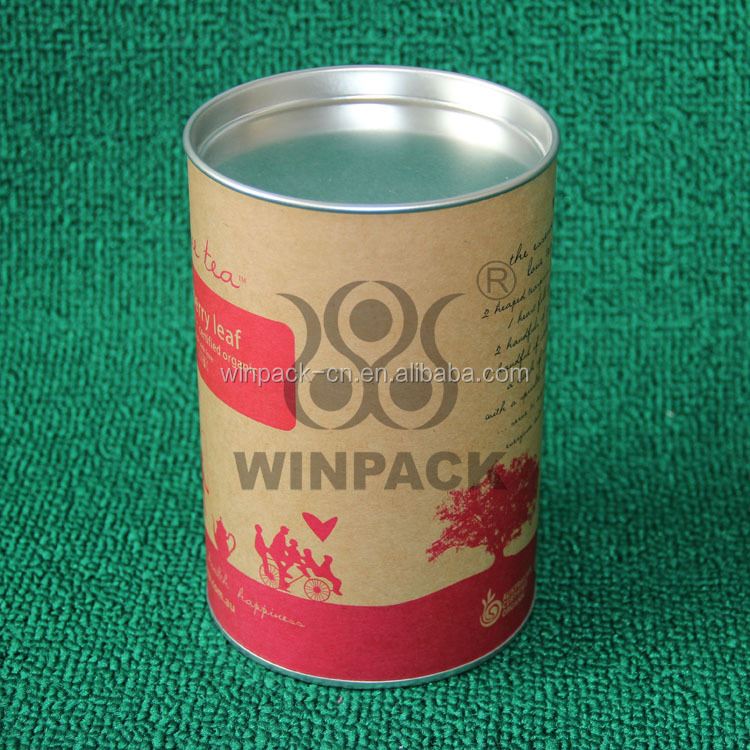 Paper Composite Cans with Flat Metal Lid For Jeans , T - shirt , custom paper tubes