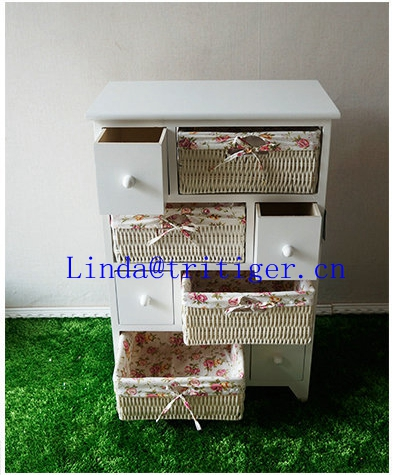 Cheap distressed antique white furniture 3 basket drawers wooden cabinet
