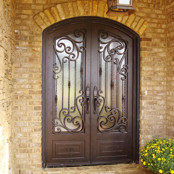 Cheap Simple House Front Wrought Iron Glass Main Door Designs