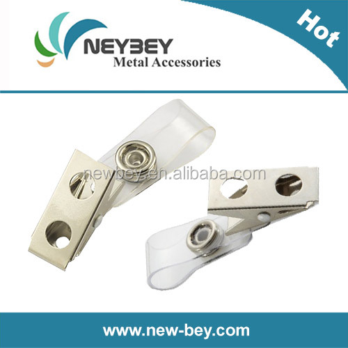 Promotion metal badge id clip with plastic strap MC206