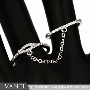 Romantic fashion charming silver synthetic jewelry two finger rings tat ring jewelry