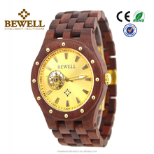 men 2017 luxury Handcrafted Wood Watch with Visible Skeleton automatic mechanical watch
