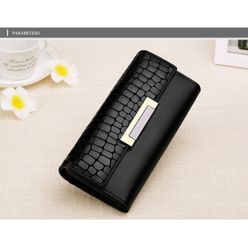 Classic black shiny crocodile leather wallet clutches for woman with cell phone holder