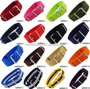 high quality full size multi color 4 flat buckle nylon nato watch straps