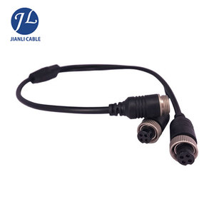 Car video camera backup system aviation connector 4pin splitter cable
