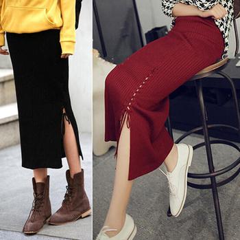 Autumn Winter Women Plus Size Thick Woolen Skirts Slim Belt Office Long Midi Skirt Pencil