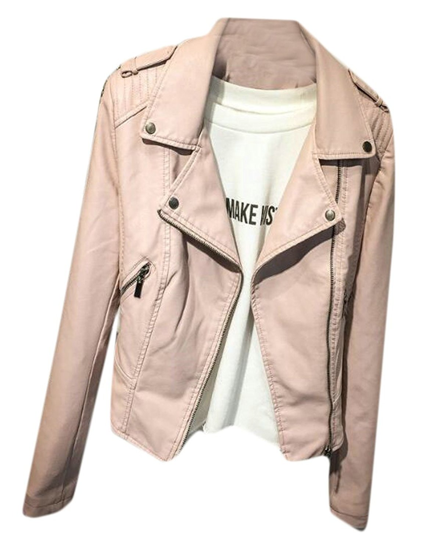 KLJR-Women Vintage Zipper Moto Slim Lapel Biker Leather Jacket Coat
