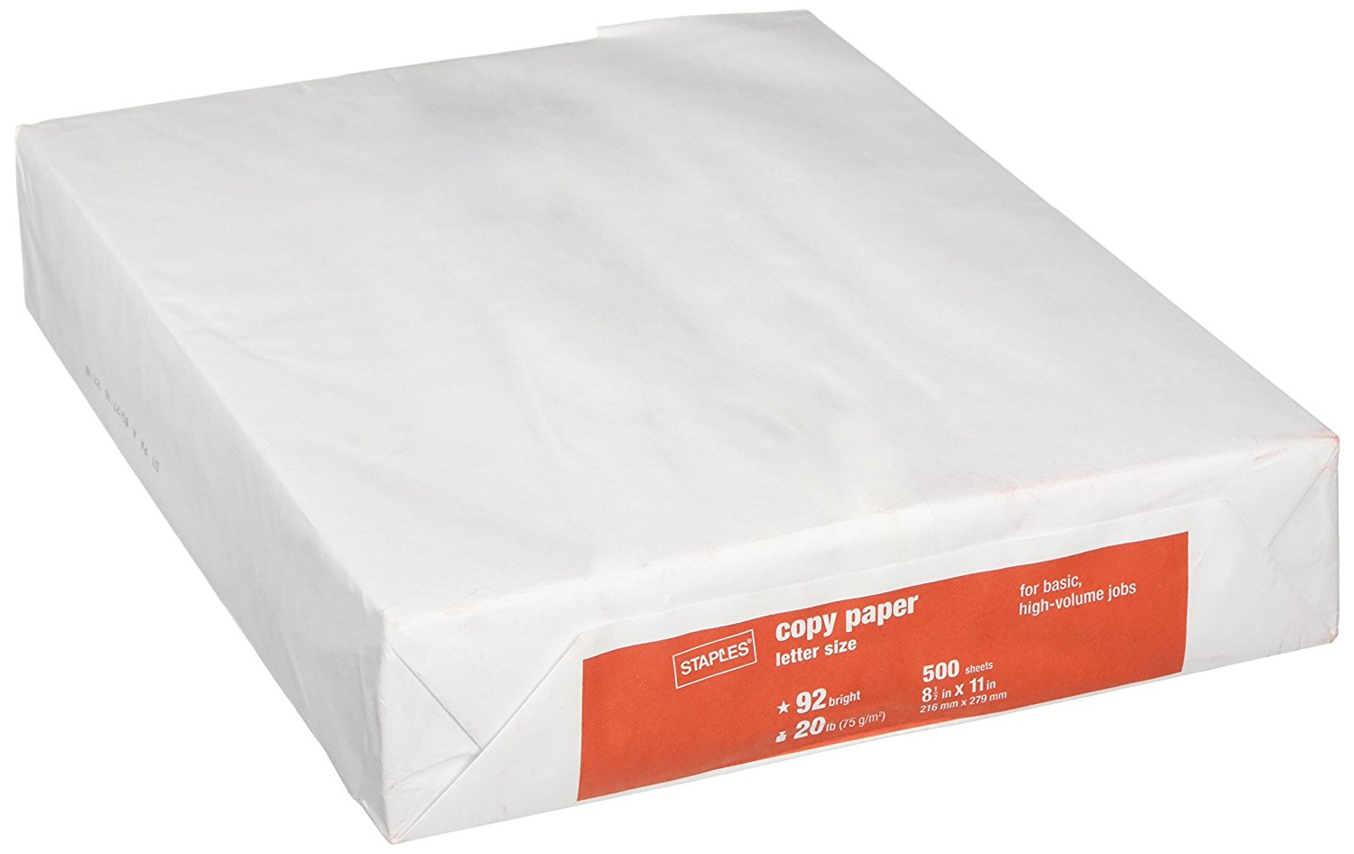 1 Ream - 500 Sheets Staples Poly Wrapped, White Multipurpose/Copy/Laser/Printer Paper, 20lb, 92 Bright