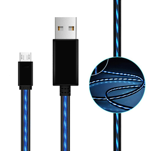 Glow in the dark charger cable flowing EL light micro USB charging cable