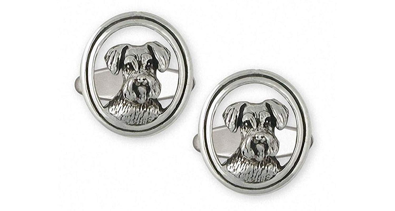Schnauzer Cufflinks Jewelry Sterling Silver Handmade Schnauzer Cufflinks SZ44-CL