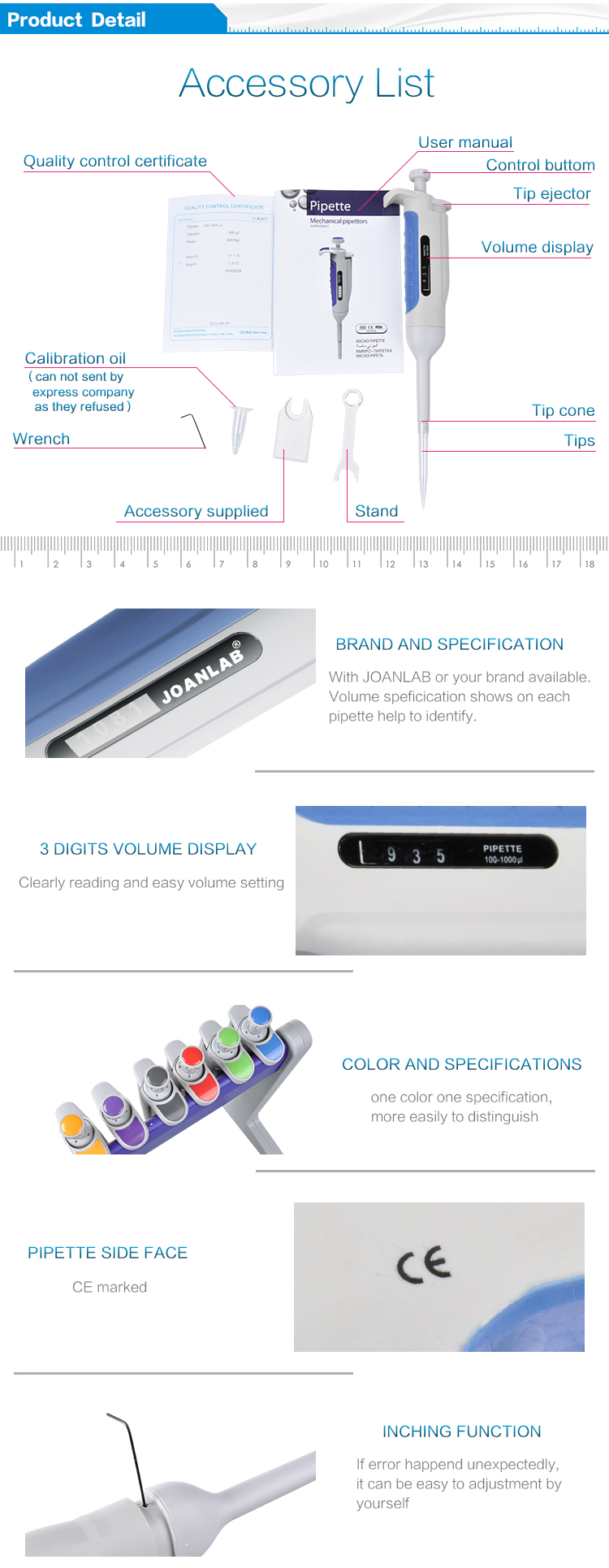 JOANLAB Pipet Machine Autoclavable Variable Volume Micropipette Price