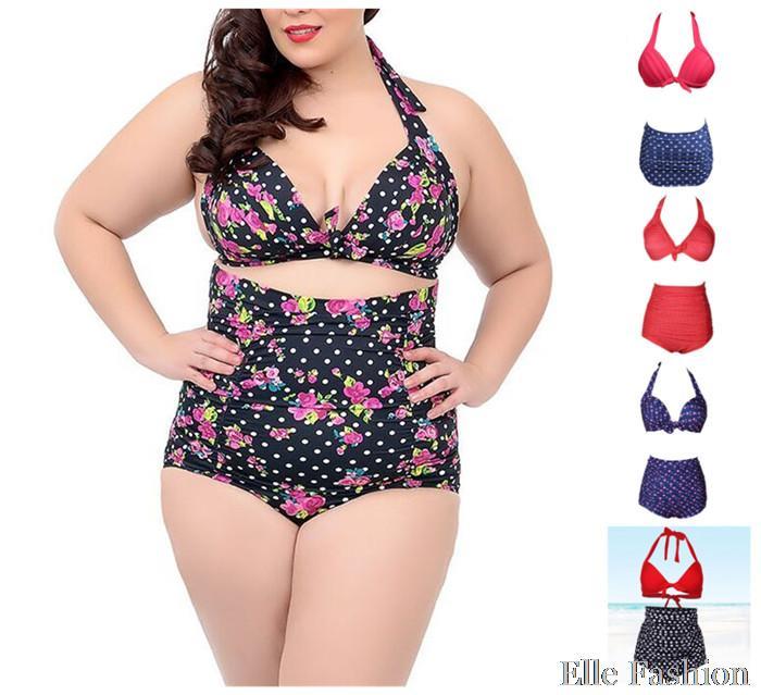 0ceceba67aefd 4XL Retro Swimwear Pin Up Polka Dot High Waist Swimsuit Bandeau High  Waisted Bathing Suits Fat Women Two Piece Bandage Swimsuit   Nice plus size  clothing ...