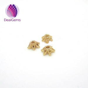 jewelry findings flower 9mm 18k plated end bead caps