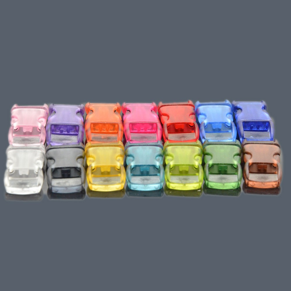 "paracord accessories 3/8"" Contoured, Side-Release clear transparent buckle for paracord bracelet"