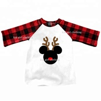 Wholesale New Children's Boutique Clothing Kids Long Sleeve Raglan Baby Boy Christmas T-Shirts