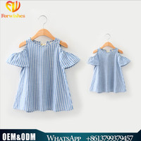 2017 wholesale family matching clothing striped off shoulder mother daughter matching dress casual mommy and me matching dress