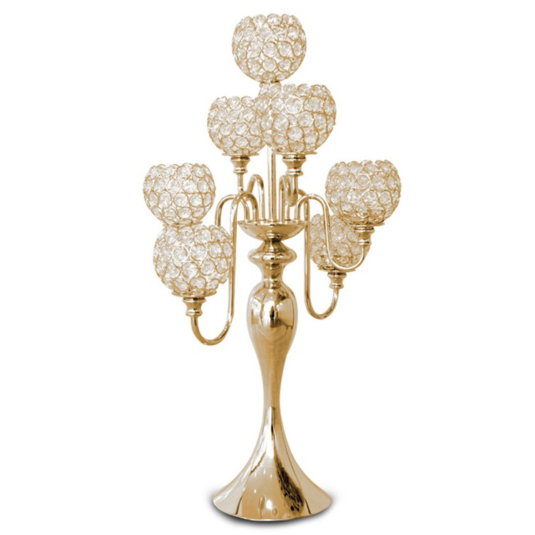 Manufacturer wholesale cheap 7 arms gold wedding crystal candelabra