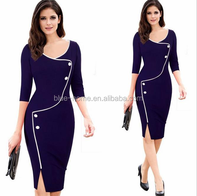 2017Womens Vintage Brief Split Bottom Elegant Casual Work 3/4 Sleeve Deep O-Neck Bodycon Knee Women Office Pencil Dress