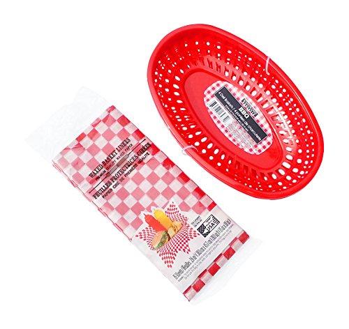 Hot Dog, Burger, Sandwich Serving Set for 4 Guests - 4 Red Baskets and 15 Red Check Food Basket Liners - Bundle 2 Items