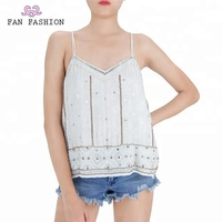 Top selling v neck back designs beaded viscose top sleeveless blouse women camisole tops