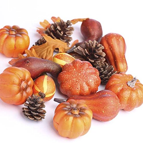 Factory Direct Craft Bag of Assorted Artificial Fall Gourds, Pinecones and Pumpkins for Creating Centerpieces, Displays and Decor