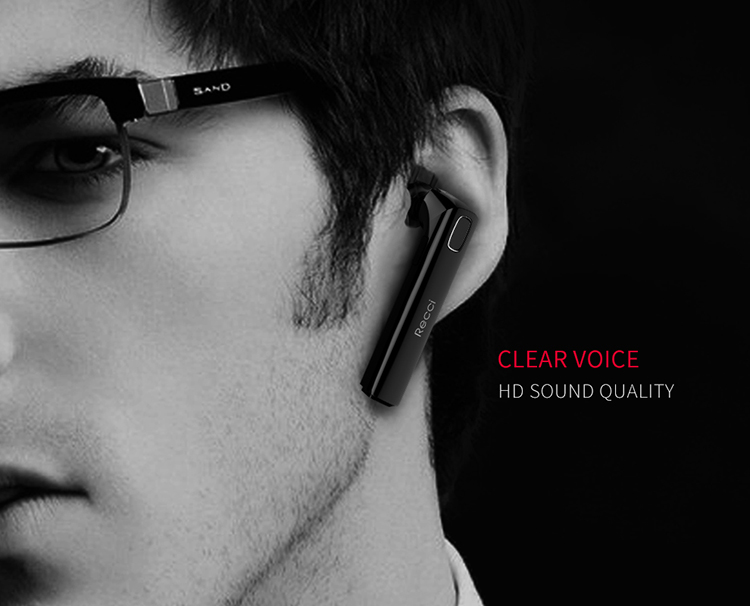 RECCI Wireless Headset Headphone Earphone With Mic Wireless Single Sport Ear Headset, long standby time