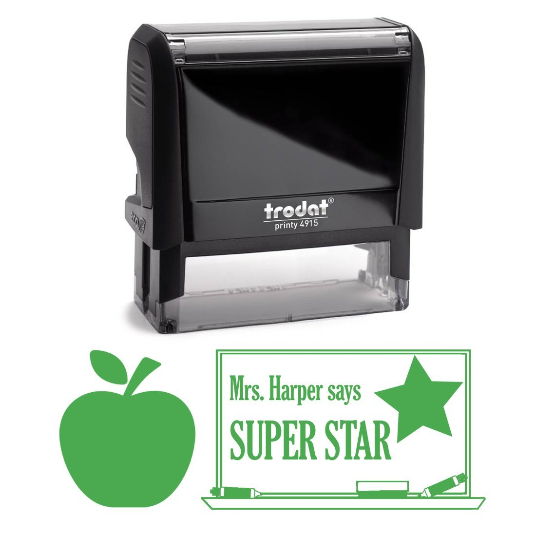 Green Ink, Super Star Apple Teacher Stamp, Self Inking, Homework Personalized School Work Stamp, Large 2 Lines, Customized Unique Gift, Personal Classroom Stamper