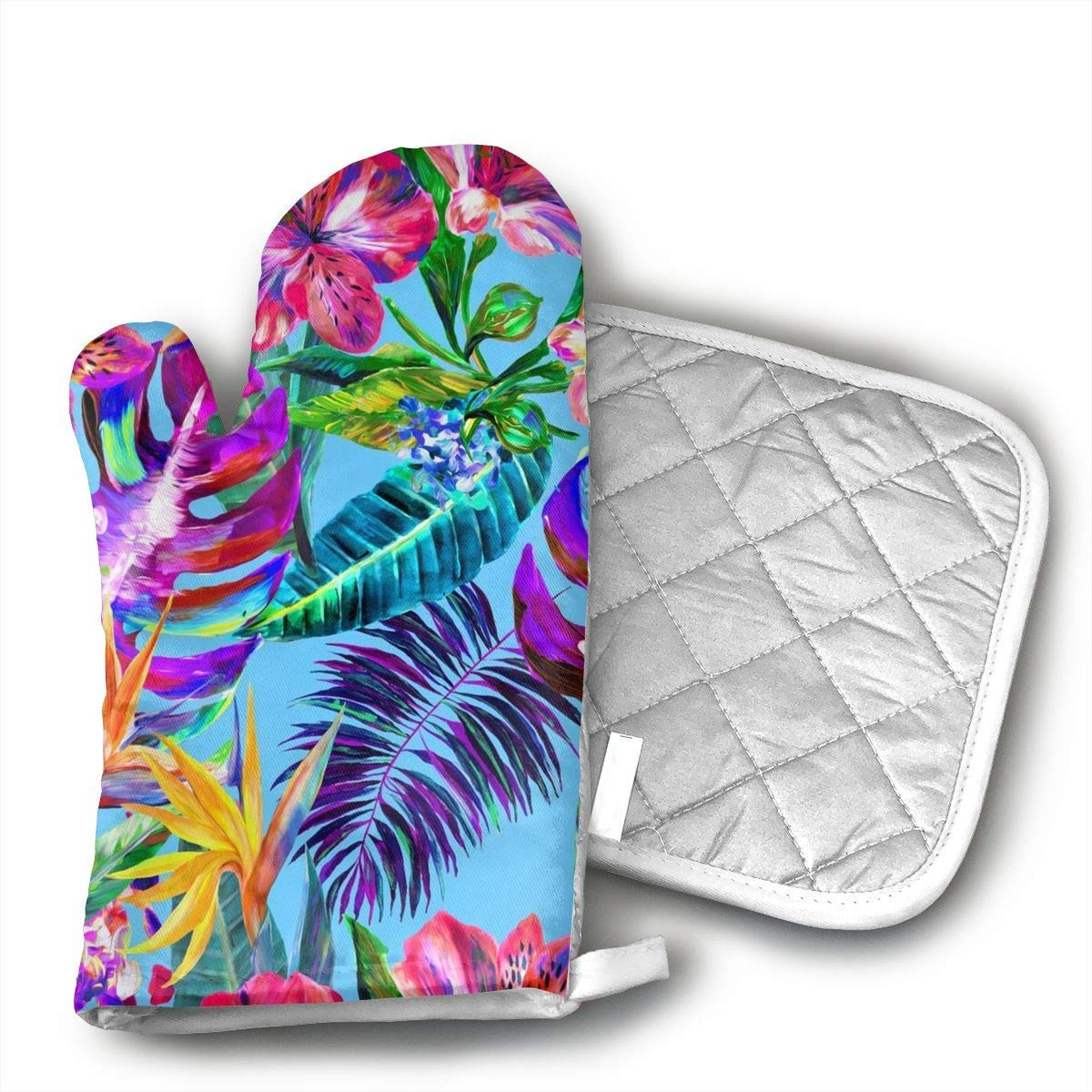 Tropical Flower Yourtablecloth Set of Oven Mitt and Pot Holder Or Oven Gloves-100% Cotton, High Heat Resistance, Superior Protection & Comfort¨CElegant Design