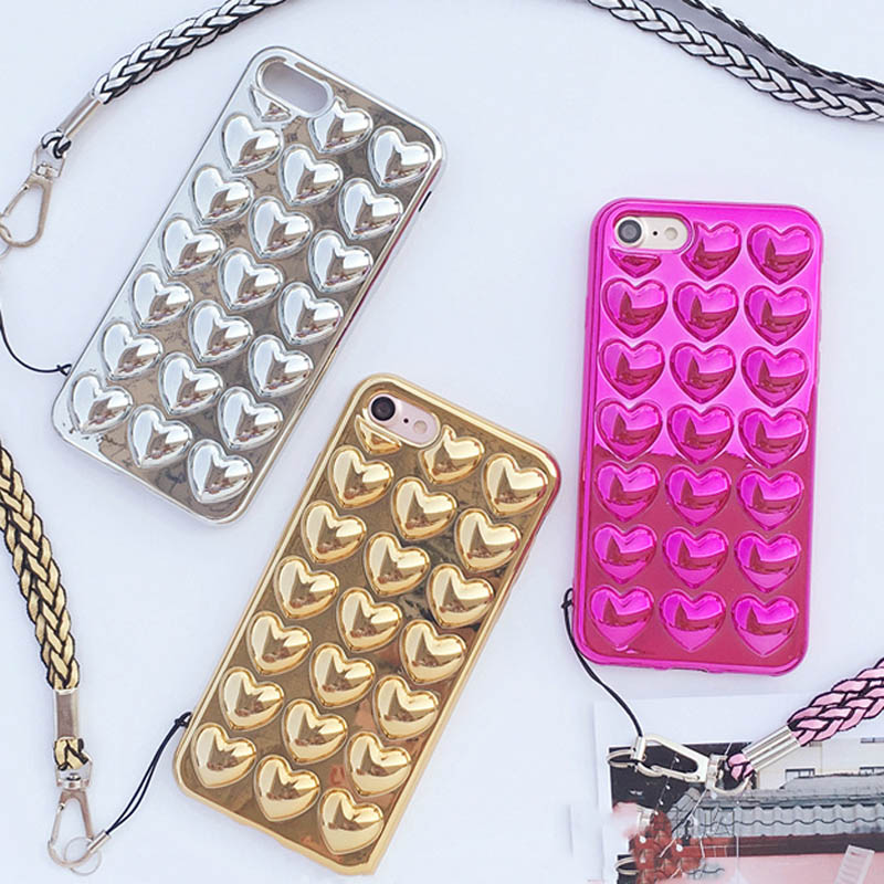 Chinese Red 3D Luxury Electroplate Love Heart Phone Case